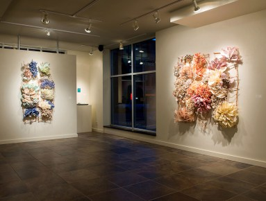 """5' x 5' x 12"""", fired and unfired porcelain paper clay, handmade paper, organic material, 2014"""