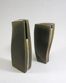 29 x 7 x 7 cm and 34,5 x 7 x 12 cm, stone ware, wood firing, porcelain slip painting, 2005