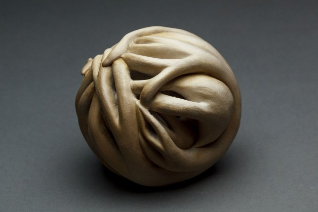 Within me, No. 3, 4 inches round, Porcelain, Terra Sigillata, Oil