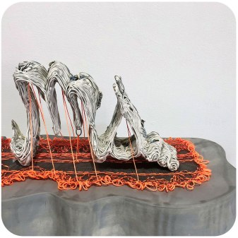 """Porcelain, underglaze, glaze, nichrome wire, fiberglass, thread, 20"""" x 35"""" x 11"""", 2018"""