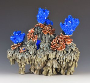 """14"""" x 11"""" x 9"""", Porcelain, copper sulfate, resin, 2016"""