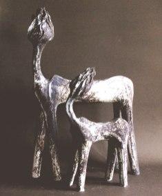 18 x 12 x 4 & 12 x 10 x 4 inches, Stoneware, 2000