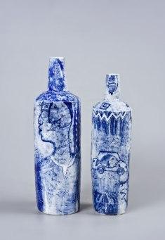 underglaze painting on porcelain vases, left 43x14cm right 39x11cm, 2016