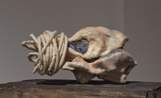 Erin Skelton (BFA Concordia 2015), All Our Mother's Wishes, Steel, porcelain, pigmented encaustic, cotton cord, silicone, wood crate, 9 x 18 x 7.5 in, 2015