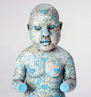 "Tom Bartel, ""Figure Afflicted with Blue Hearts (After Kouros)"" (detail)"