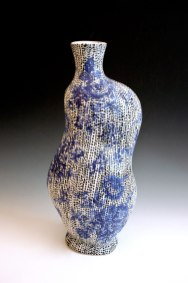 2013, Porcelain, 4.5 x 6 x 12 inches, slip-cast, underglaze applied with a slip trailer on bisqueware then a clear glaze is applied, bisque fired to cone 06 oxidation, glaze fired in cone 10 reduction, vintage decals applied and fired to cone 022 oxidation