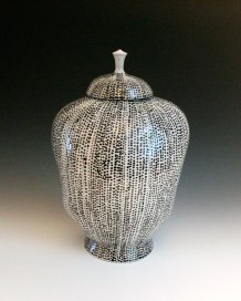 2013, Porcelain, 8 x 6 x 11 ¼ inches, slip-cast and thrown, underglaze applied with a slip trailer on bisqueware then a clear glaze is applied, bisque fired to cone 06 oxidation, glaze fired in cone 10 reduction