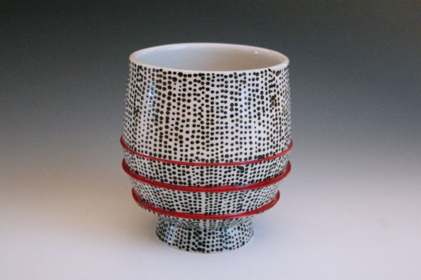 2014, Porcelain, 4 x 4 x 4 1/2 inches, thrown, underglaze applied with a slip trailer on bisqueware then a clear glaze is applied, bisque fired to cone 06 oxidation, glaze fired in cone 10 reduction