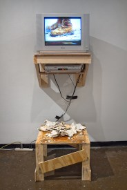 """TV, wood, steel, porcelain, 550 cord, video (loop), US Army desert combat boot, extension cable, RCA cables, 100mph tape, 78x32x28"""", 2016"""