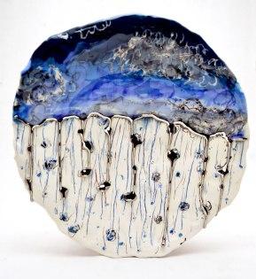 "Earthenware, slip, glaze, platinum luster, underglaze, underglaze pencil. Handbuilt. 14L"" X 14W"", 2014"