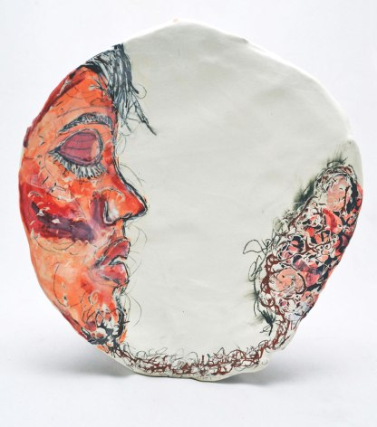 "Earthenware, slip, underglaze, underglaze pencil, glaze. Handbuilt. 14L"" X 13W"", 2014."