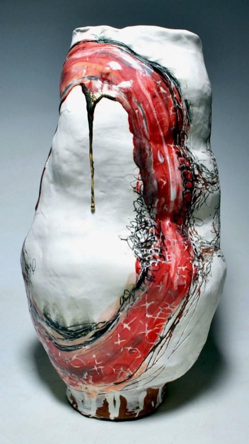 "Earthenware, slip, underglaze, underglaze pencil, glaze, gold and silver luster. Handbuilt. 17L""x16Wx24H"", 2014."