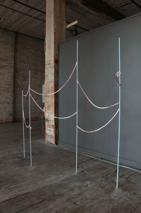 2014, steel, clay, fiber, ink, 82 x 67 x 12 in.