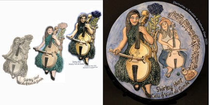 """For the Clay Studio, Philadelphia, and their exhibit """"100 Years 100 Women"""" 50 artists were invited to create 2 portrait plates each, to commemorate this 100th anniversary of the constitutional amendment giving women voting rights. Choosing 2 noteworthy performing artist friends, I created portrait plates of each: Viola da Gamba and Cello musician, Shirley Hunt; and Lyric-Soprano Opera Singer/ Puppeteer, Suzanne Pemsler, who created her puppets as well. They were delightful to work with, as I made each my art director to be sure I represented them to the best of my ability. Involving them throughout the process, from our safe distance by phone, with email and photos send back and forth, we were constantly in touch, and smiling."""