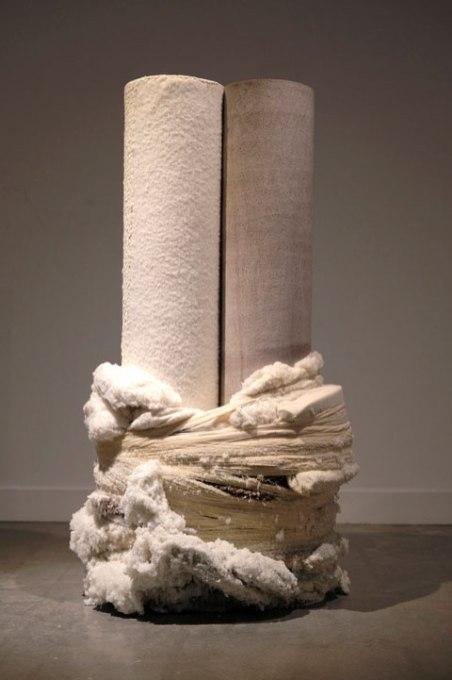 "terra cotta, cotton, thread, synthetic hair, foam, borax, 28"" x 16"" x 45"", 2017"