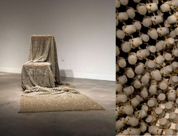 "porcelain, waxed thread, chair, 72"" x 36"" x 38"", dimensions variable, 2015 - (ongoing)"