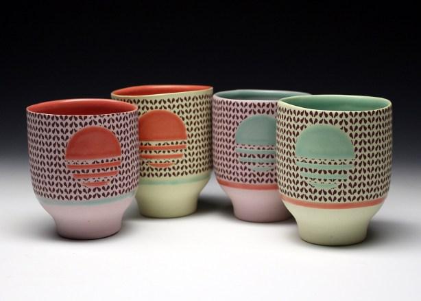 "porcelain& glaze with laser transfers, cone 10, 4"" x 3.5"""
