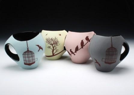 """porcelain& glaze with laser transfers, cone 10, 4"""" x 5"""" x 4"""""""