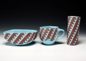 """porcelain & glaze with laser transfers, cone 10, to 6"""" in height"""