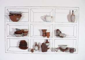 2014, Installation at Fjord Space, Terracotta, hardware, charcoal