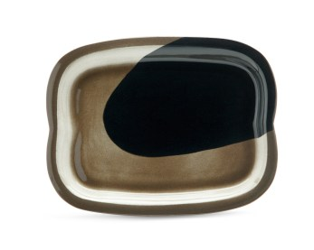 cone 6, black Stoneware, slab constructed over a bisque ring mold, colored stain, 1 x 12.5 x 9""