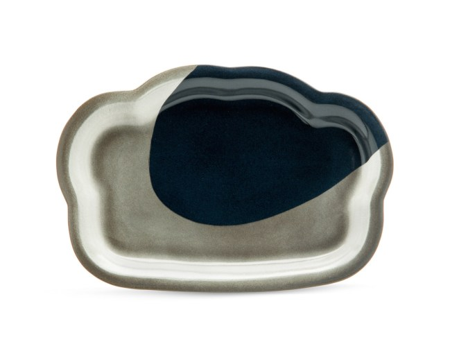 """cone 6, black Stoneware, slab constructed over a bisque ring mold, colored stain, 1 x 12.5 x 9"""""""