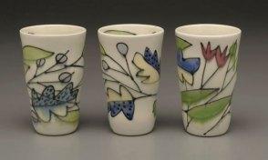 "Three Tumblers, 5 ¾ "" x 3 ½ "" x 3 ½"", Porcelain, Underglaze, Glaze, 2008"