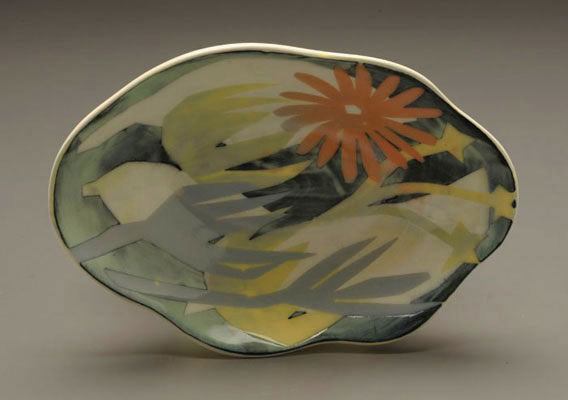 "Orange Starburst Server, 2"" x 9 ¾"" x 7"", Porcelain, Slip, Underglaze, Glaze, 2008"