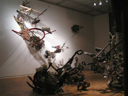ceramics & mixed media installation at Washington State University, Pullman, WA, January, 2008