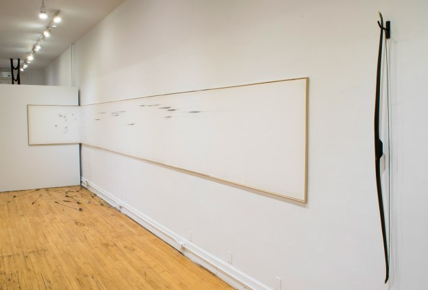 2018, Bow, Arrows, Quiver, Muslin, Performer. Installation at Lacuna Gallery, Minneapolis, MN.