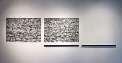 "Untitled (CB-36), 2014, kaolin/calcium carbonate/bone-ash/chalkboard paint and wood, 48 x 190 x 4"""