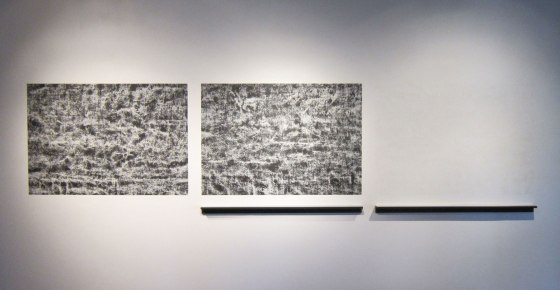 Untitled (CB-36), 2014, kaolin/calcium carbonate/bone-ash/chalkboard paint and wood, 48 x 190 x 4""