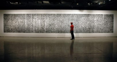 """Untitled (CB-6), 2010, kaolin/calcium carbonate/bone-ash and chalkboard paint, 90 x 534"""""""