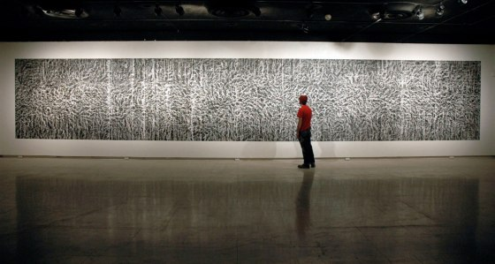 Untitled (CB-6), 2010, kaolin/calcium carbonate/bone-ash and chalkboard paint, 90 x 534""