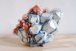2012, Porcelain, Underglaze, Mason Stain, Borax, 5.5x7x4