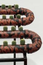 63x57x42, slip cast, underglaze, cactus, wax encaustic, steel, 2016