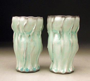 Porcelain, Soda fired with Celadon glaze