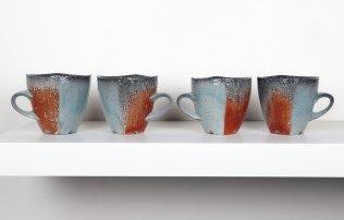 "2015, Soda Fired Porcelain, Kaolin Slip and Glaze, Cone 10, Each 4.5"" x 3"" x 3"""