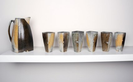 "2015, Soda Fired Porcelain, Kaolin Slip and Glaze, Cone 10, Pitcher: 12"" x 6"" x 5"" Beakers: 6"" x 2.5"" x 2.5"""