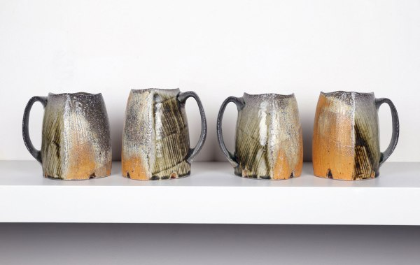"2015, Soda Fired Porcelain, Kaolin Slip and Glaze, Cone 10, Each 5.5"" x 3"" x 3"""