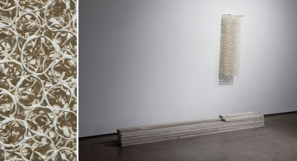 untitled, wall. Porcelain, glaze, steel, fired drywall from my studio, bedroom, and gallery homogenized/reconfigured and cast as standard 2x4 studs, dimensions varied, 2013
