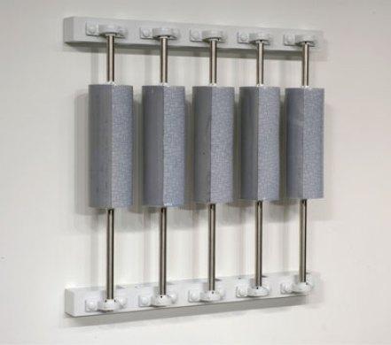 """38 x 38 x 8"""", porcelain, inlay, glaze, steel, 2006"""
