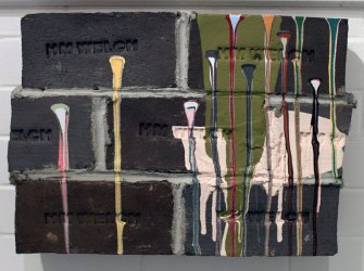 "bricks, mortar, paint, 2010, 14""h x 20""w x 5""d"