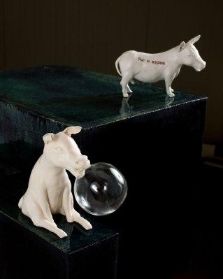 pseudo innocence IV, fired clay, glaze, glass, 41x48x51