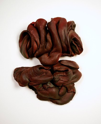 "Choco, 2014, ceramic and acrylic ink, 14""x16""x4"""