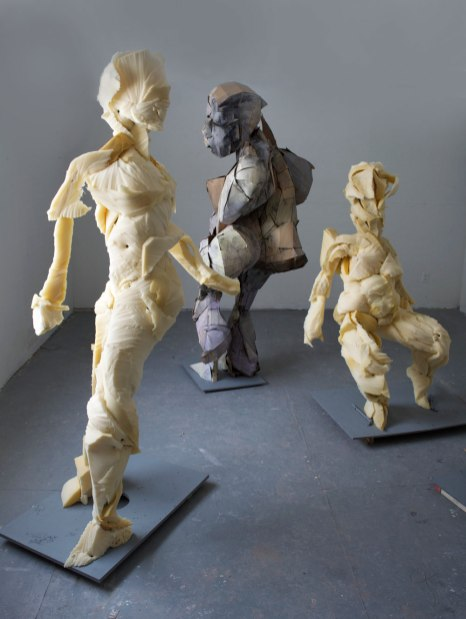 Gestures (Twist, Breath, Slow Grind, Bumpin'), 2015, cardboard, foam, paperclay, wood, metal, various sizes- largest