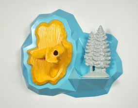 """Yellow Flight, Cast earthenware with lead glaze, reduction fired porcelain, digitally designed and hand-fabricated wood composite, paint, 22"""" x 19"""" x 12"""", 2013"""