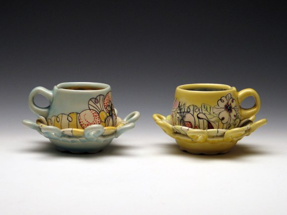 "Cups and Saucers, Garden Series 2012, midrange white stoneware, underglaze and glaze decoration, 6.5""x6.5""x4"""
