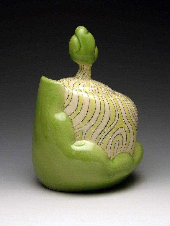 "Tree Jar, 2012, midrange white stoneware, wheel-thrown, underglaze and glaze decoration, 7""x7.5""x14"""
