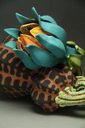 "15"" x 21"" x 15"" , Terracotta clay, handbuilt , press molded and slip"